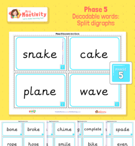 Phase 5 decodablewords splitdigraphs Cards Preview